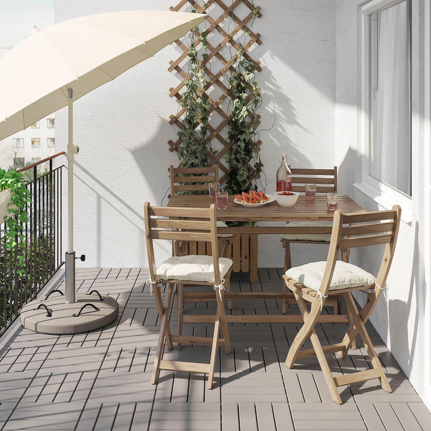 Askholmen Tisch 4 Klappstuhle Aussen Graubraun Lasiert Kuddarna Beige Ikea Osterreich In 2020 Outdoor Folding Chairs Folding Chair Wooden Outdoor Furniture