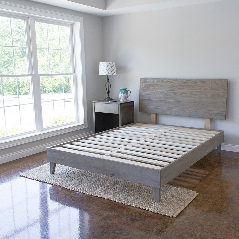 Kotter Home Industrial Barnwood Platform Bed Frame And Headboard