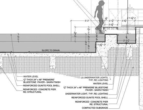 Pool detail drawing jid pinterest detalles constructivos for Detalle constructivo piscina