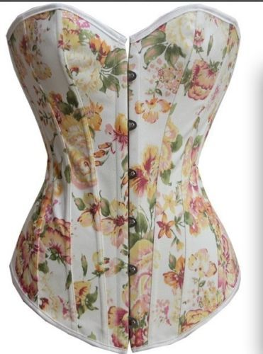 7ff027b5835 CORSET - COUNTRY COWGIRL Yellow   Pink Floral Denim Satin Trim Slightly  Padded Lace Up Back Western Corset Top