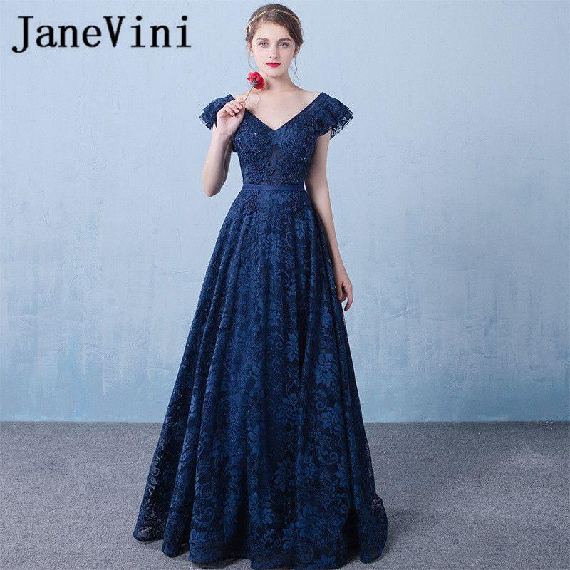 73f1c6f982 JaneVini 2018 Elegant Navy Blue Long Bridesmaid Dresses V Neck ...