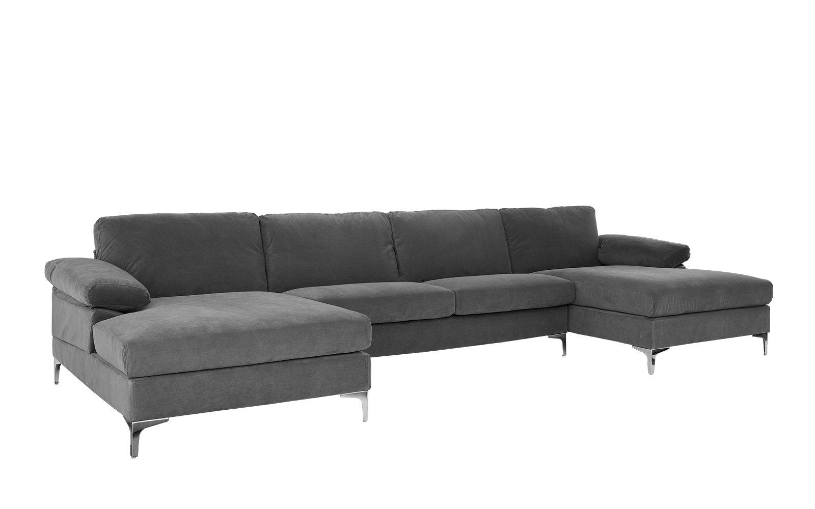 Amanda Xl Modern Velvet Oversized Sectional Sofa Sectional Sofa