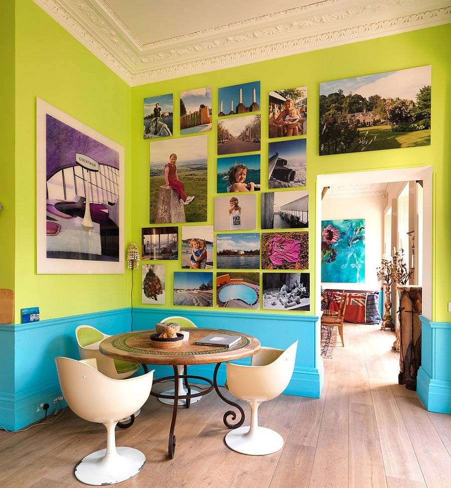 Turquoise And Lime Green Dining Room With A Brilliant Gallery Wall Decoist
