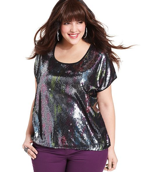 3237d0ab472 Belle Du Jour Plus Size Top, Short-Sleeve Sequined - Junior Plus ...