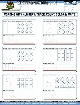 Learning Numbers 1 12 Integrated Morning Worksheets Learning Numbers Worksheets Learning