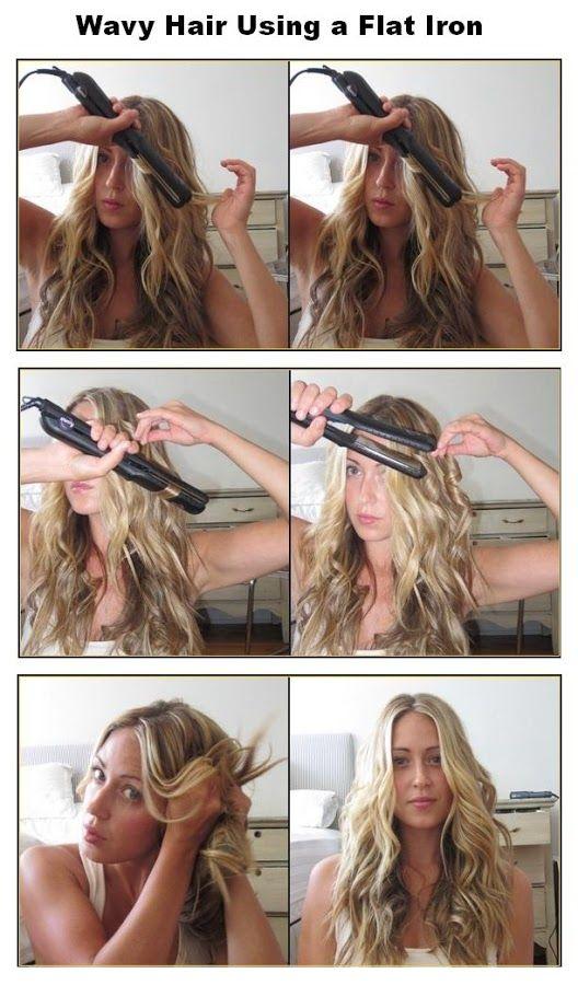 How To Make Wavy Hair Using A Flat Iron Beauty Tutorials Hair Styles Curly Hair Styles Hair