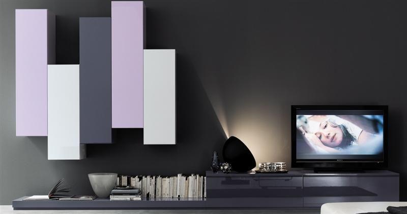 Wohnwand Schrankwand Lila Hochglanz Lack Italia Day Designermöbel