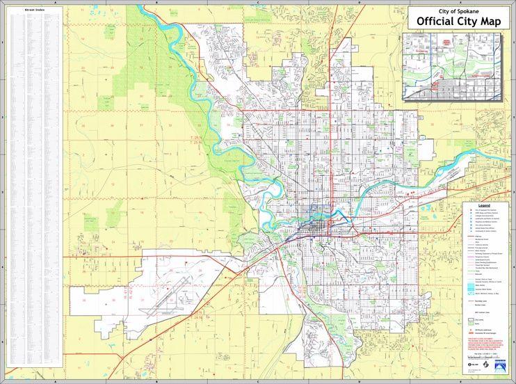 Spokane street map Maps Pinterest Usa cities and City