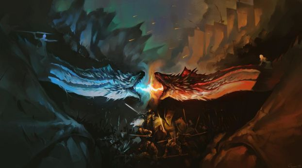 Download Dragon Battle Fire Vs Ice Game Of Thrones Hd Full High Resolution 240x320 Wallpaper Images Game Of Thrones Dragons Ice Game Of Thrones Dragon Artwork