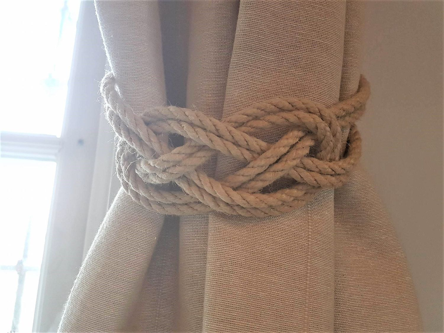 Hemp Rope Beige Rope Carrick Bend Knot Curtain Tie-backs Large ... for Curtain Tie Backs Placement  177nar