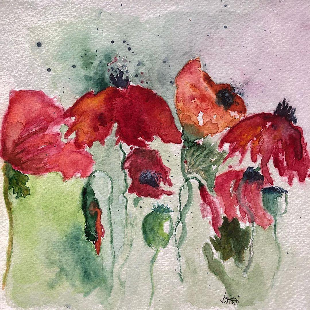 Mohnblumen Erinnerungen An Den Sommer Mohnblume Sommer Blumen Aquarelle Aquarell Malen Zeichnen Poppyflowers S Poppies Painting Watercolor