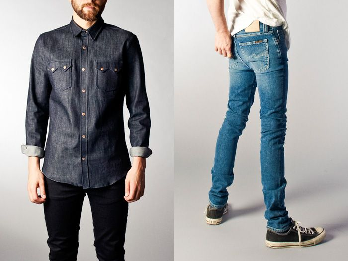 8137ade6b6 (3a) Gusten Dry Denim Shirt - (3b) High Kai Worn Twill Jeans - Nudie Jeans  2013 Spring Summer Mens Lookbook