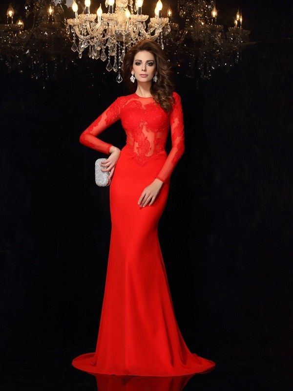 275478a698b Stylish Sheath/Column Lace Long Sleeves Scoop Long Chiffon Dresses ...