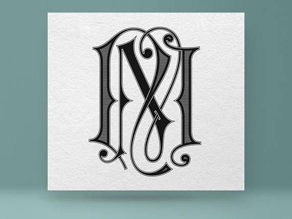 Tattoo Initials Mn: Digital Vector Monogram