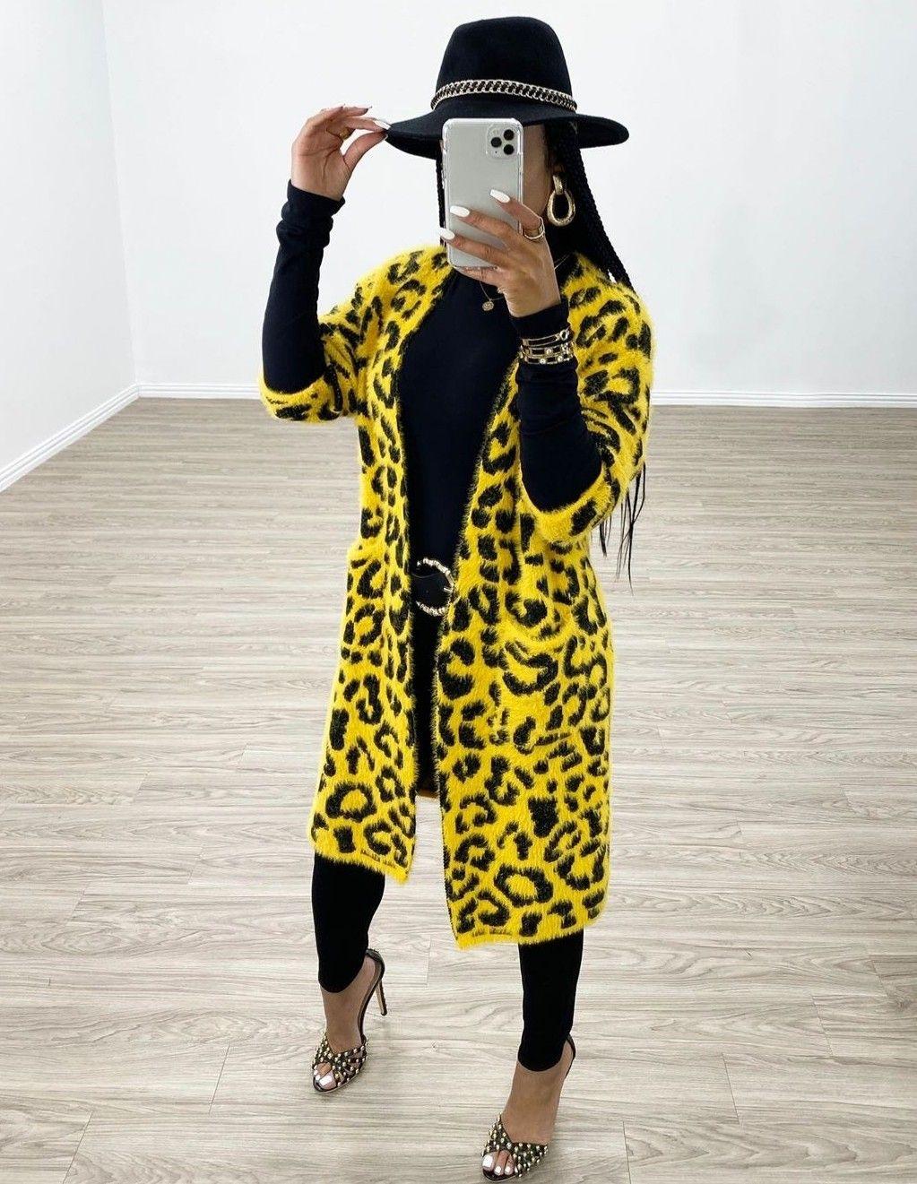Leopard cardigan yellow