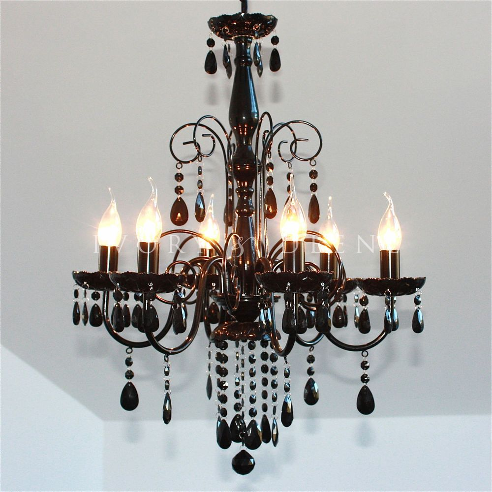 BLACK CHANDELIER French Shabby Crystals 6 Arm Ceiling Lamp Metal Pendant Light #IvoryDeene #Elegant #Chandelier
