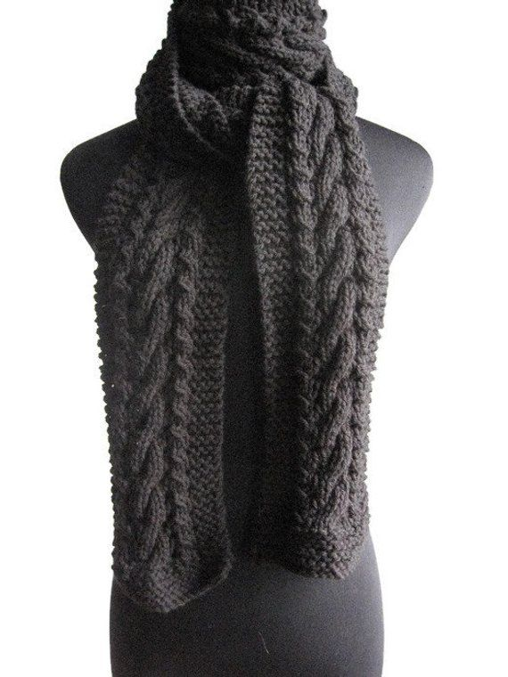 Photo of Hand Knit Scarf, Black Cable and Lace Scarf, Fall Scarf, The Stef Scarf, Vegan Knit, Cable Scarf, Womens Scarf, Winter Accessories