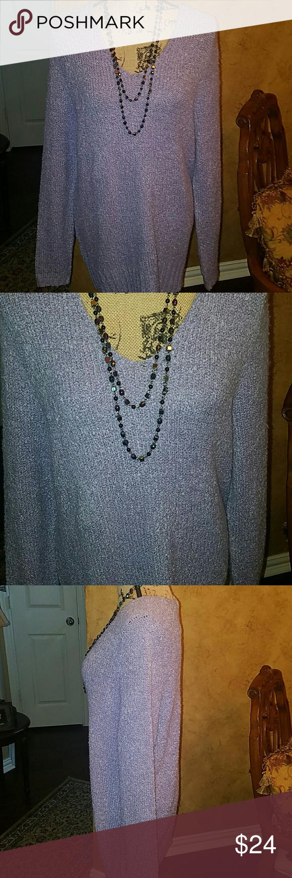 BEAUTIFUL LAVENDER COZY SEEATER This is a beautiful pullover v-neck sweater that is so cozy and is a beautiful grayish lavender. Brand new with tags, the material is 88% acrylic with 12% polyester. So warm and cozy. Great with a pair of jeans or a pair of trousers. croft & barrow Sweaters V-Necks
