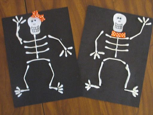 preschool crafts for kids halloween q tip skeleton craft - Preschool Crafts For Halloween