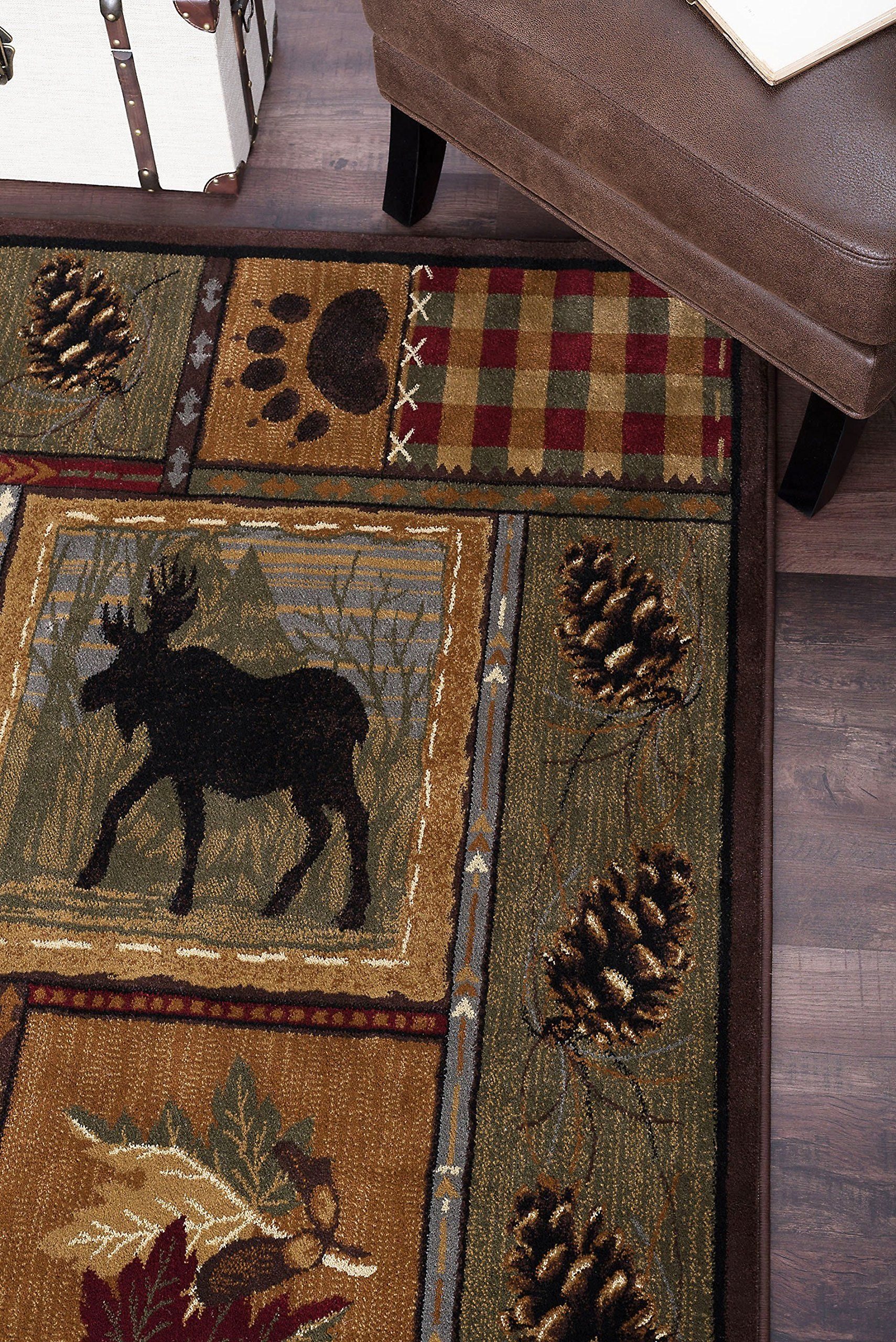 Universal Rugs Homespun Cabin Novelty Lodge Pattern Brown Rectangle