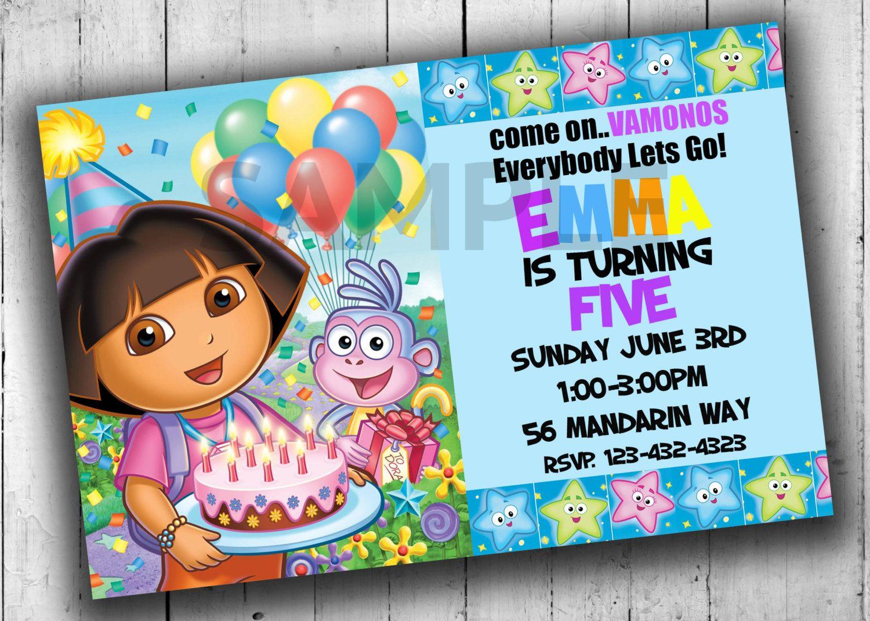 Dora The Explorer Party Invitation, Birthday Invitation, Dora The ...