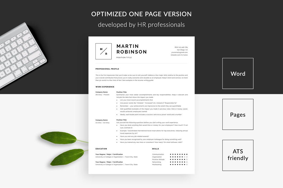 Ad Minimal Resume Template CV Template by TemplateHippo