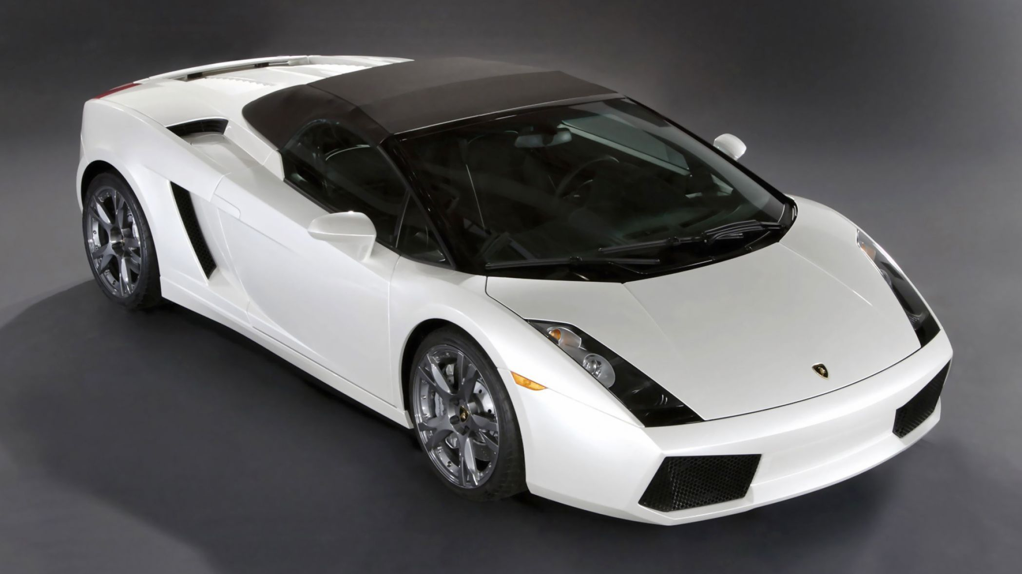 2006 Lamborghini Gallardo Spyder   White   Side Angle   Top Up   Wallpaper