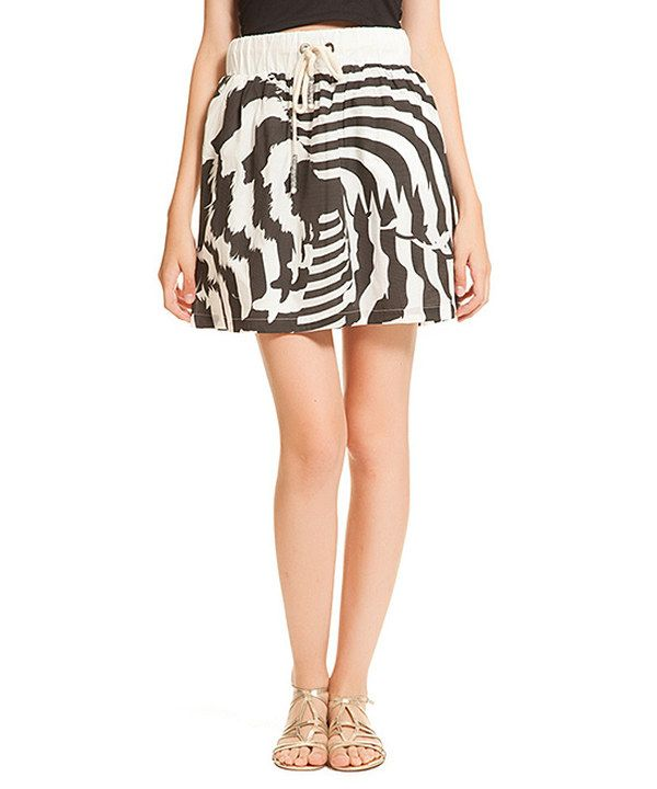 Look at this Black & Ecru Lione A-Line Skirt on #zulily today!