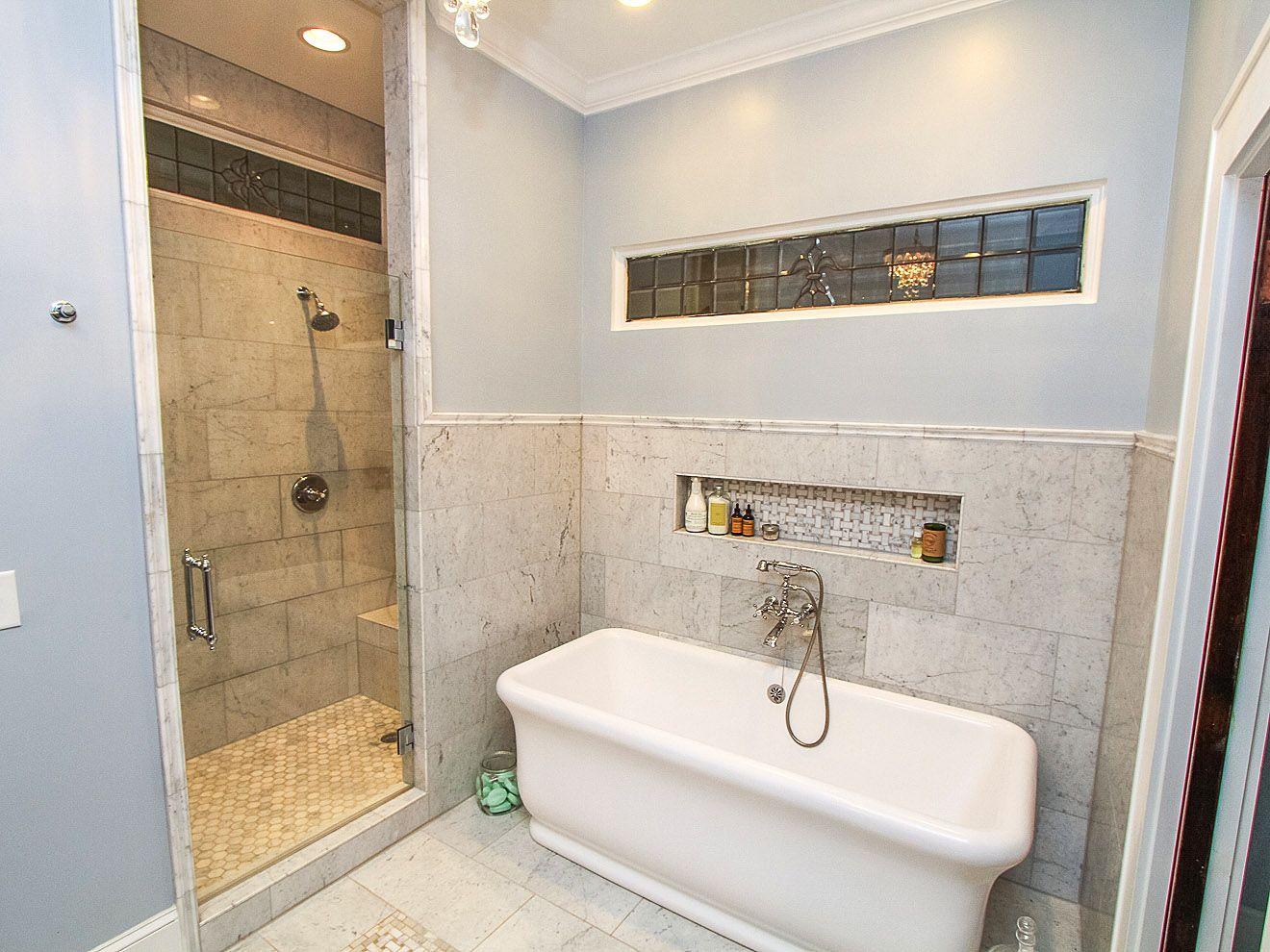 "Carrara Marble Master Bathroom, 12x24"" Carrara marble"