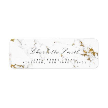 Minimal White Gold Marble Return Address Labels minimal style