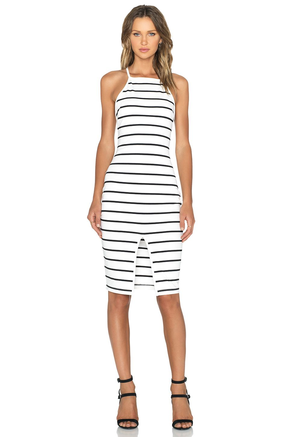 The Fifth Label Don't Panic Midi Dress in White & Black Stripe | REVOLVE