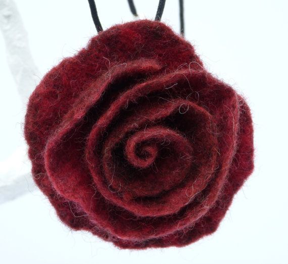 Felted Rose Necklace Rich Red by MoorFunDesigns on Etsy