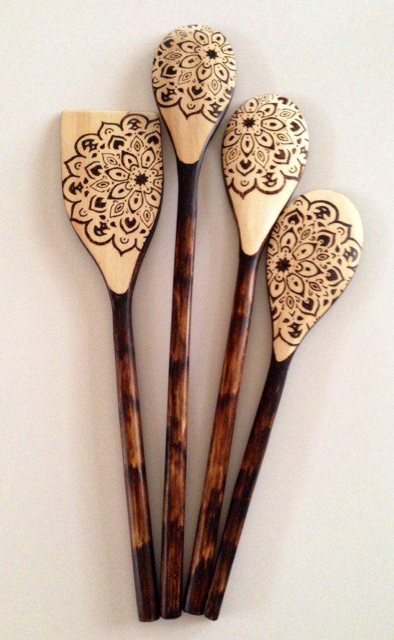 Wooden Spoons – Floral Mandala – cooking utensils – boho design – wood burned sp…