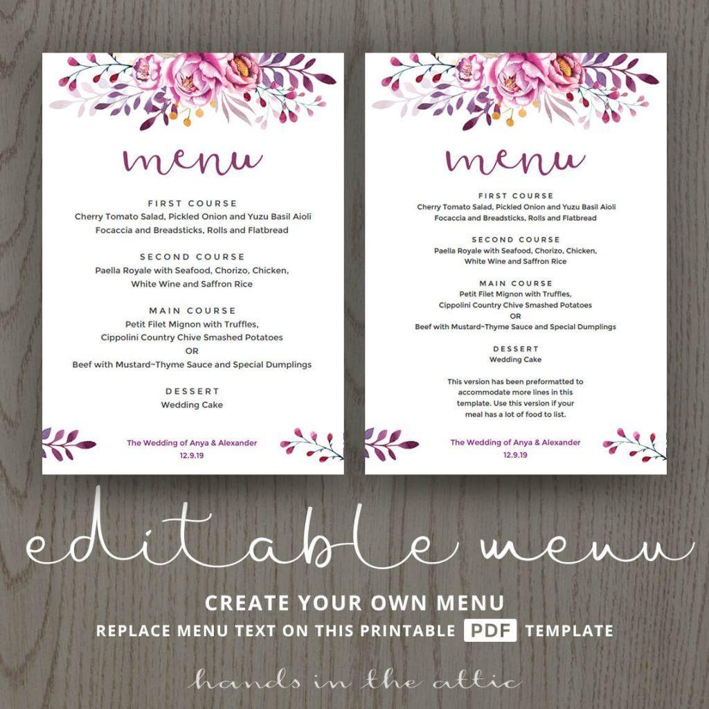 Wedding Dinner Menu Cards For Wedding Buffet Menu Ideas: Wedding Dinner Menu, Wedding Menu