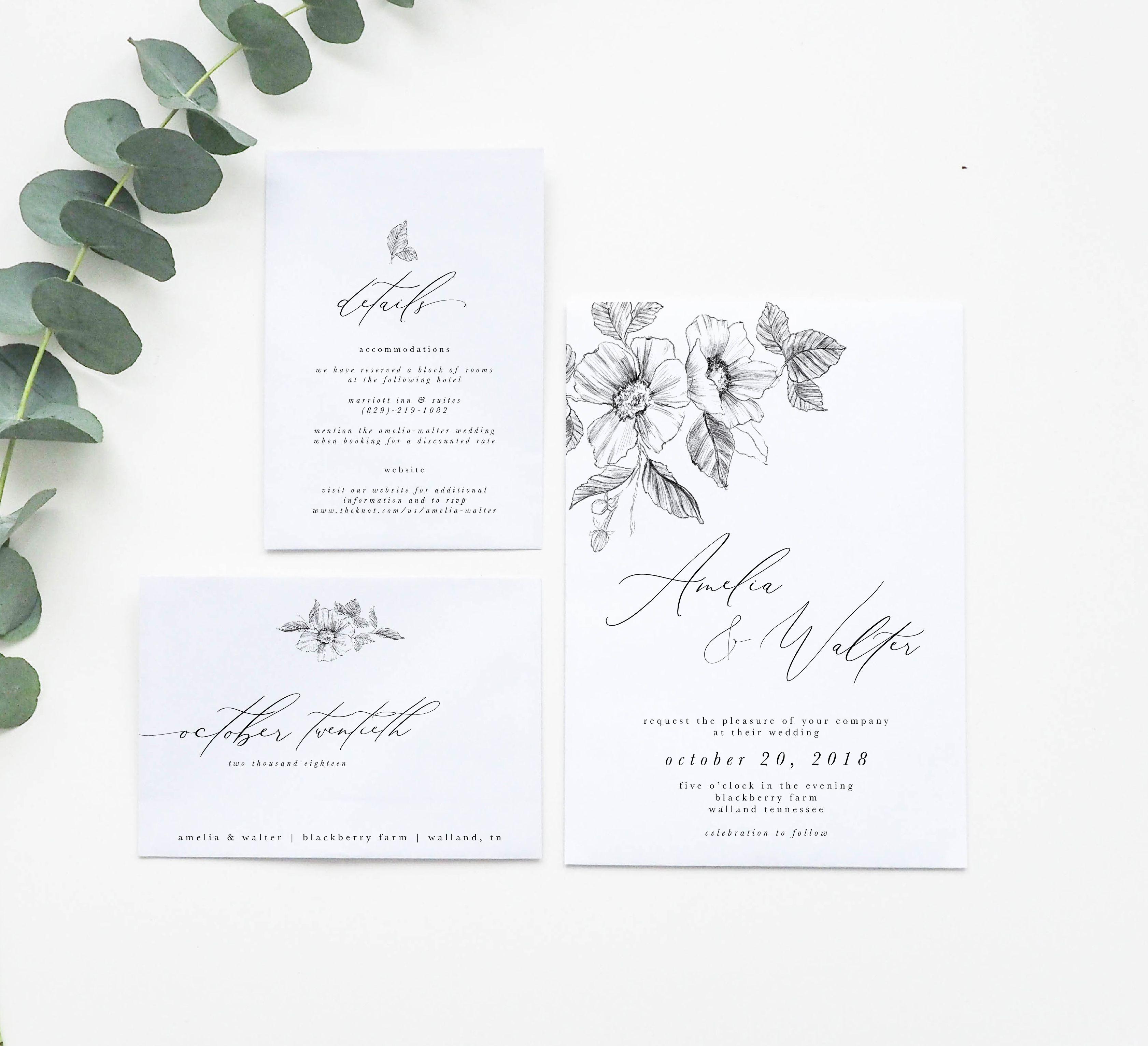 Simple Wedding Invitation Floral Wedding Invitation Floral Wedding Invitations Simple Wedding Invitations Minimal Wedding Invitation