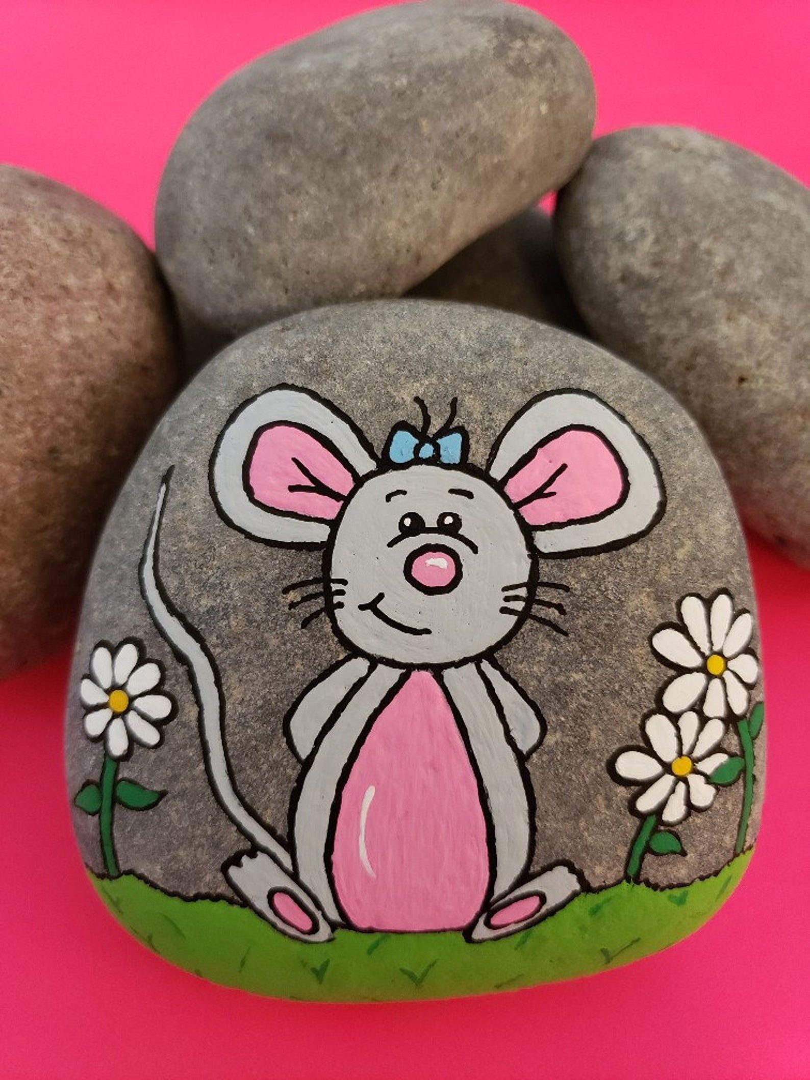 Happy Mouse Rock Painting Tutorial | Etsy