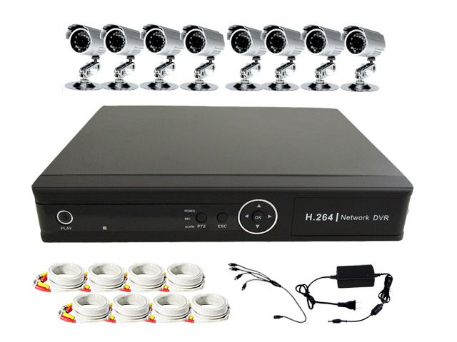 8CH Channel H.264 Mobile 3G Surveillance Security CCTV DVR System Kit New
