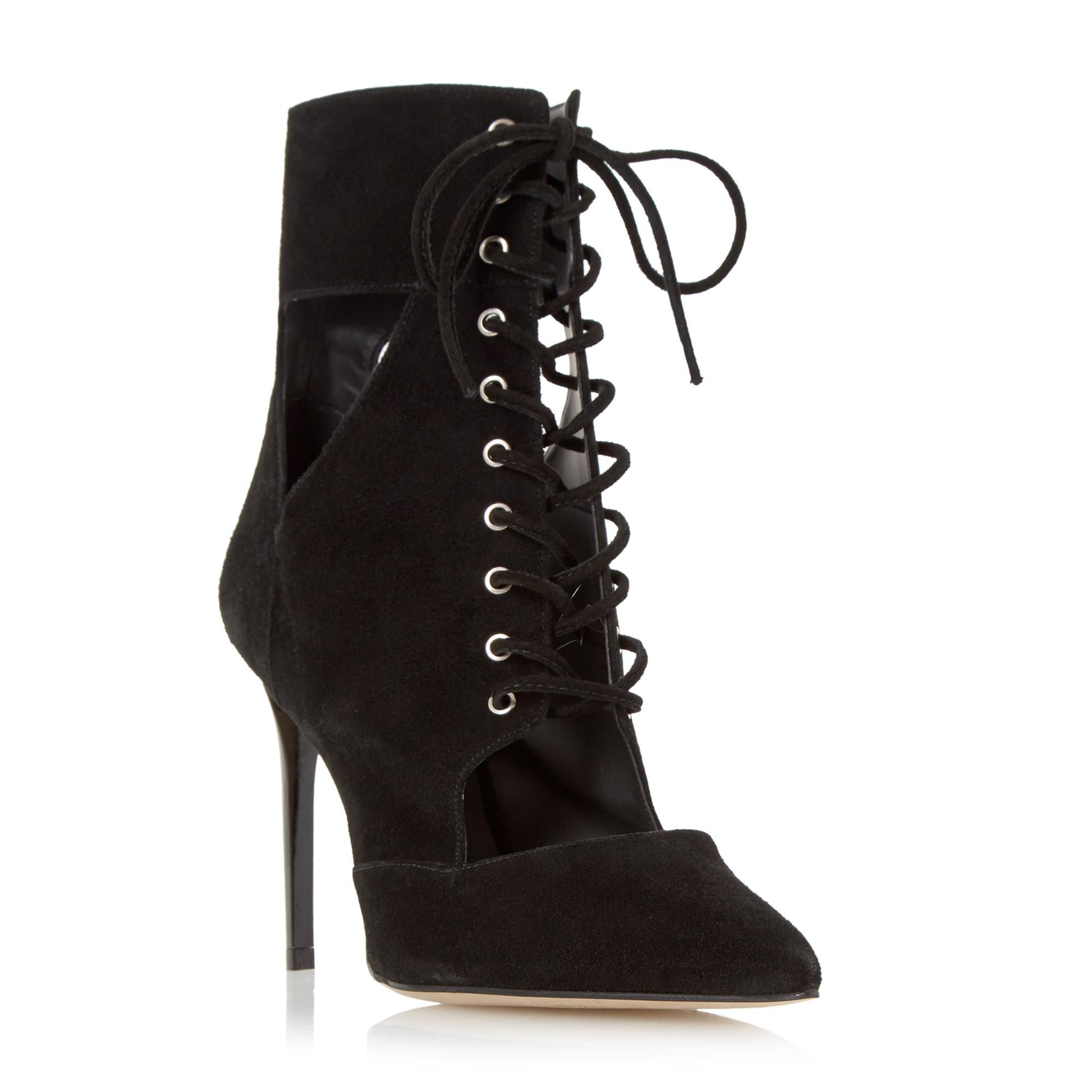 DUNE LADIES OLEA - Suede Lace Up Pointed Toe Ankle Boot - black | Dune Shoes