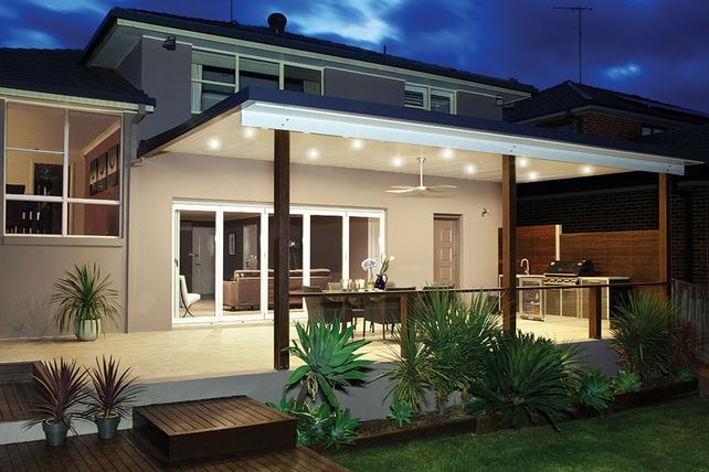 10 Great Deck Lighting Ideas For Your Outdoor Patio: An Elegant Insulated Patio Roof With Stunning Down Lights