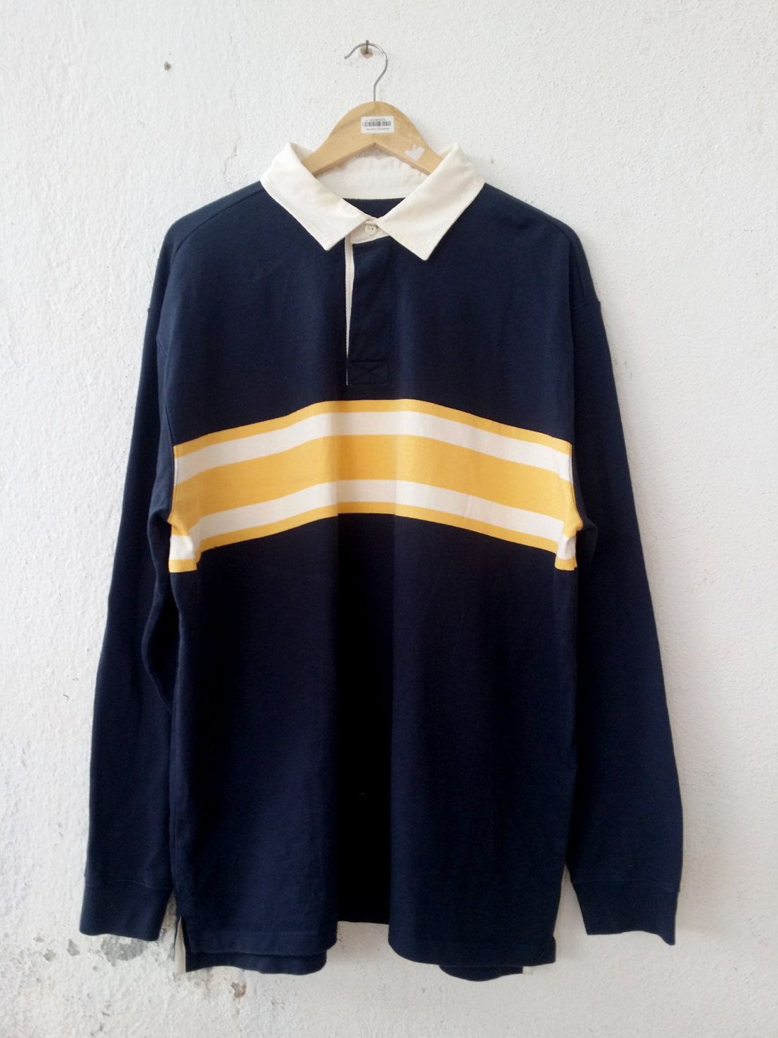 5026c0323f0fdd Vintage 90 s LL BEAMS Stripe Casual Wear Polo Shirt Rugby Shirts Swag Hip  Hop Street wear size XL VS73 by fiestorevintage on Etsy