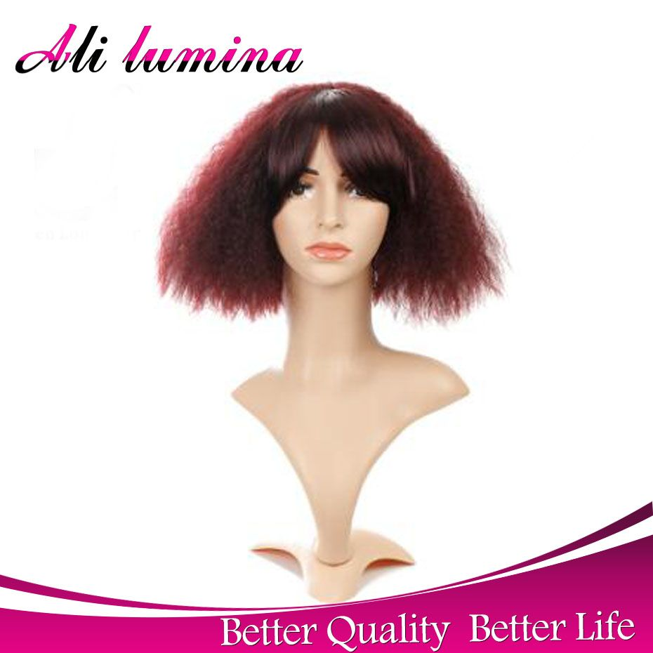 Natural red short curly afro wigs for black women heat resistant
