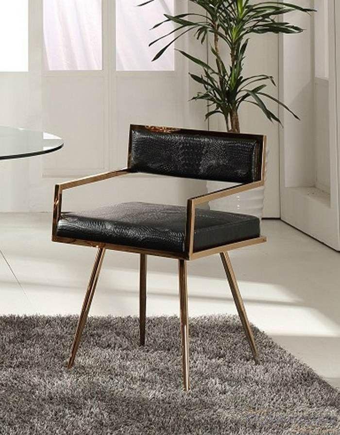 Vig Furniture Modrest Rosario Modern Black & Rosegold Dining Chair