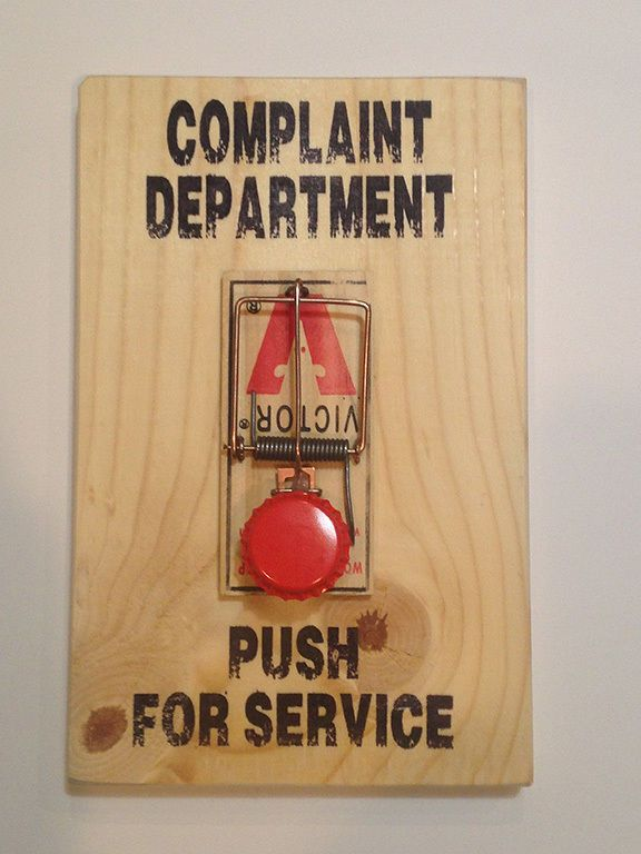 Red Button Complaint Department Mouse Trap Sign Joke Gifts Diy Gag Gifts Gag Gifts For Men