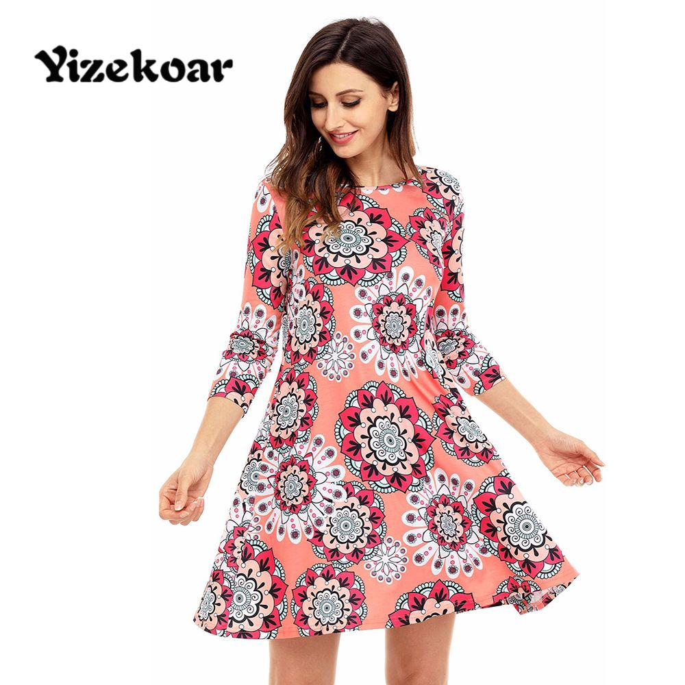 Yizekoar Vintage Dresses Autumn 2017 Shift Casual Boho Sunflower ...