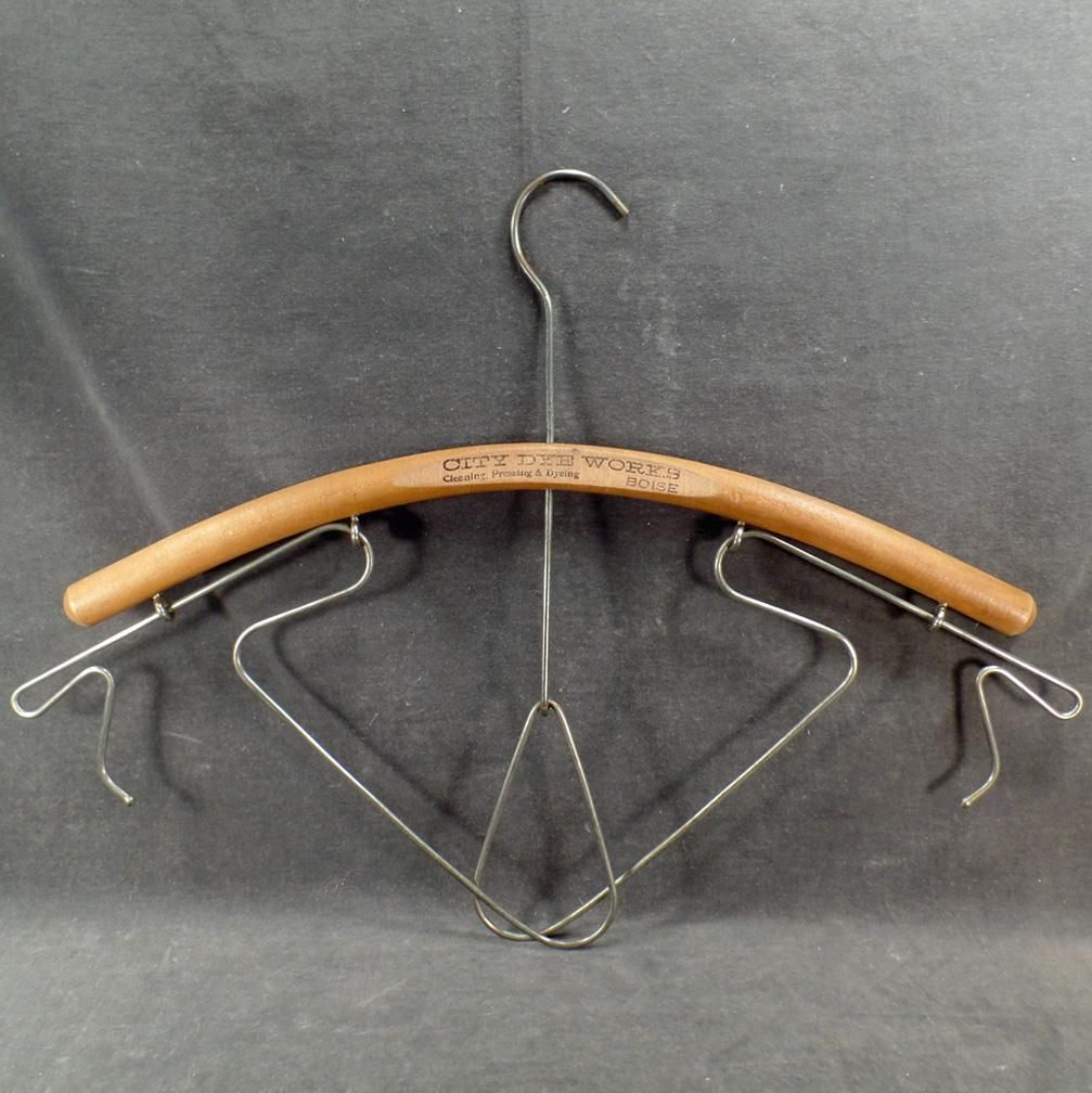 Vintage Metal Wood Clothes Hanger Decorative Usable Art With