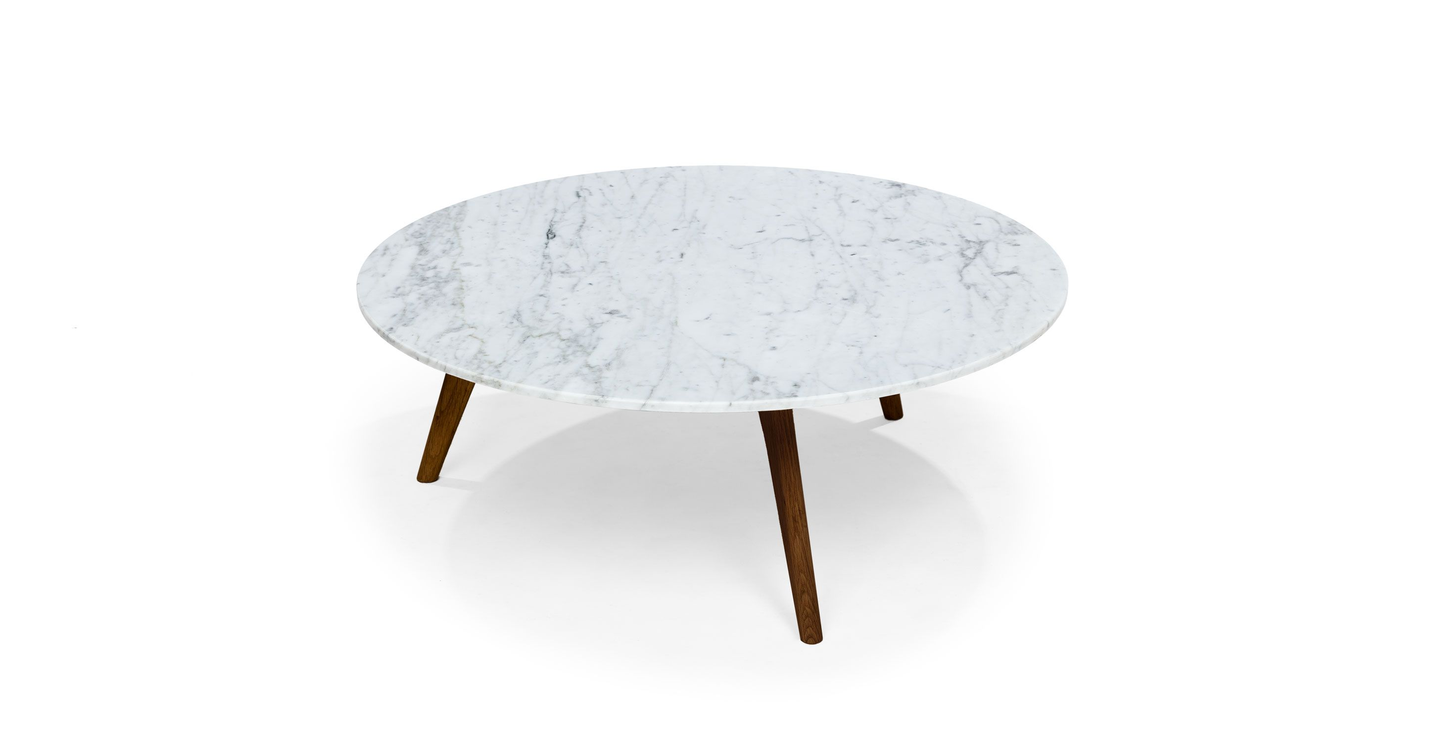 Round Marble Coffee Table In Solid Wood Walnut