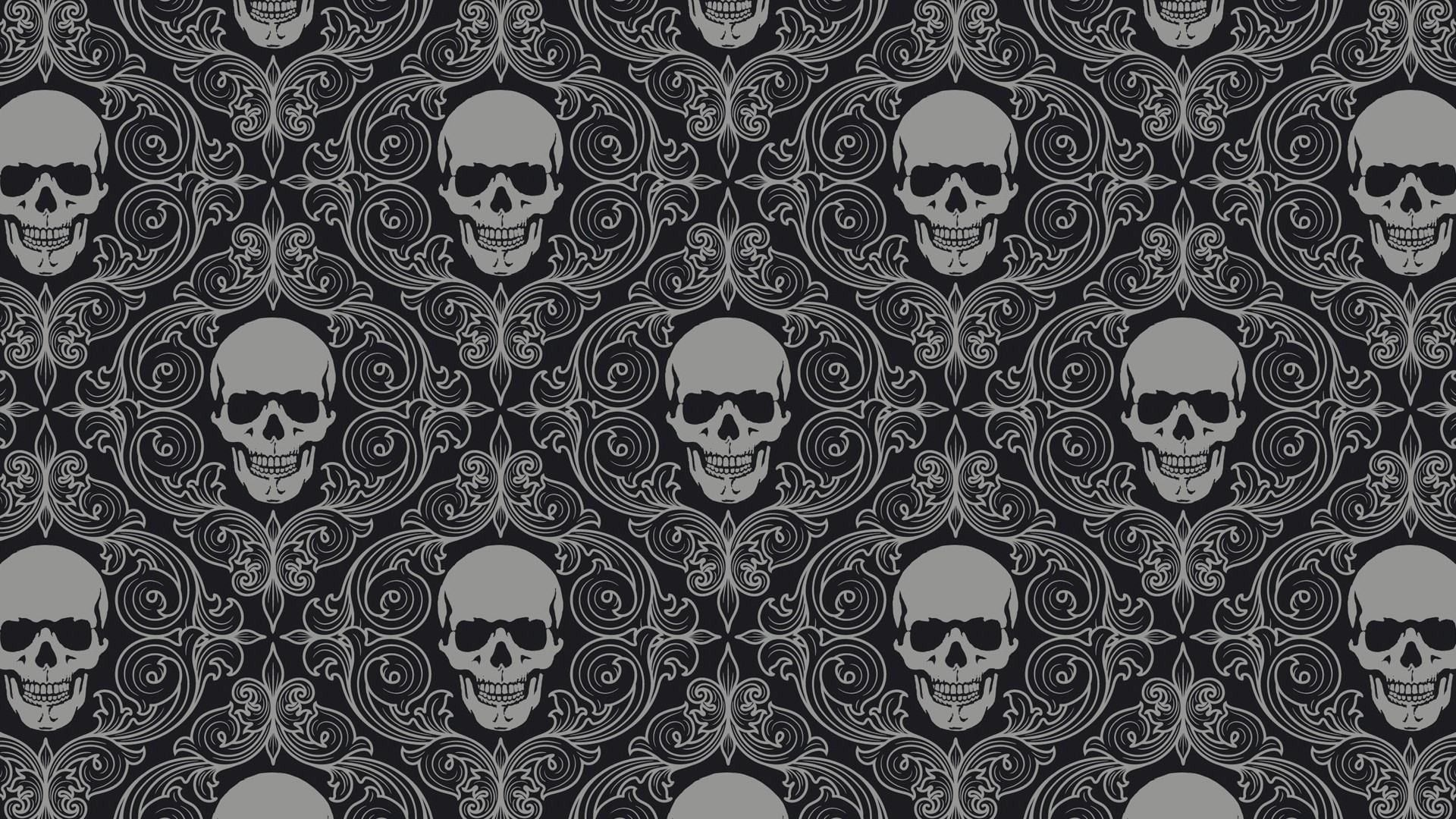 general texture skulls symmetry monochrome digital art