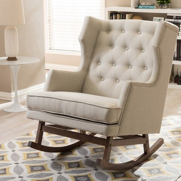 Abbyson Living Thatcher Fabric Rocking Chair In Beige Kids Table And Set Contemporary Light By Baxton Studio