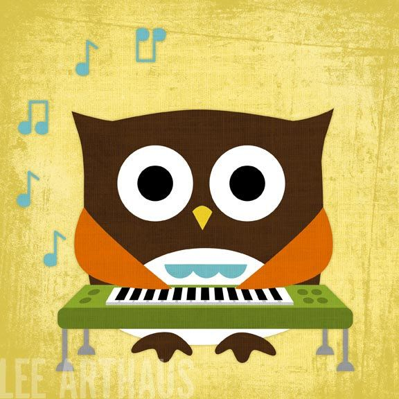 4A Owl Nursery Print - Owl Playing Keyboard Wall Art - Keyboard ...