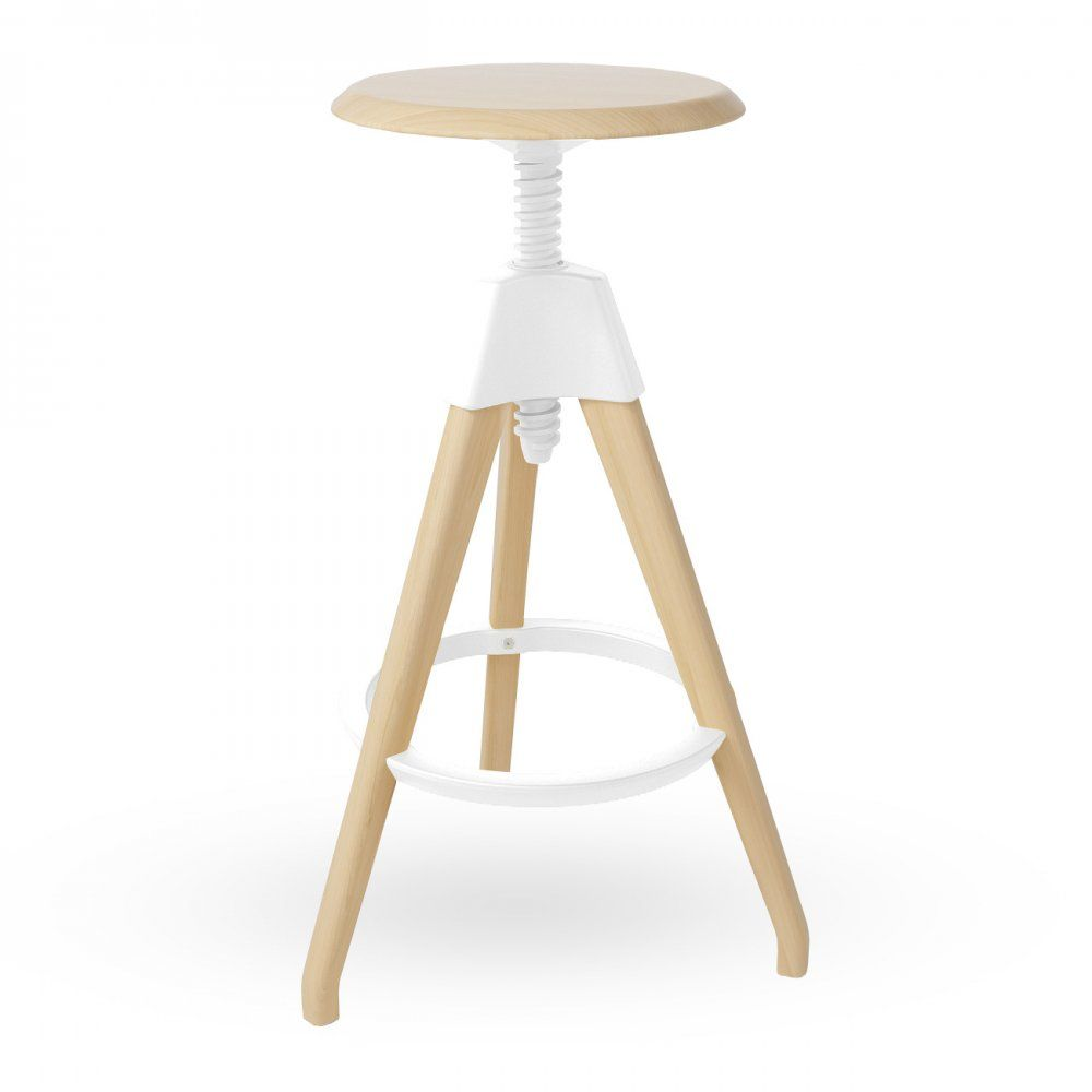Wonderful White Wood High Adjustable Stool